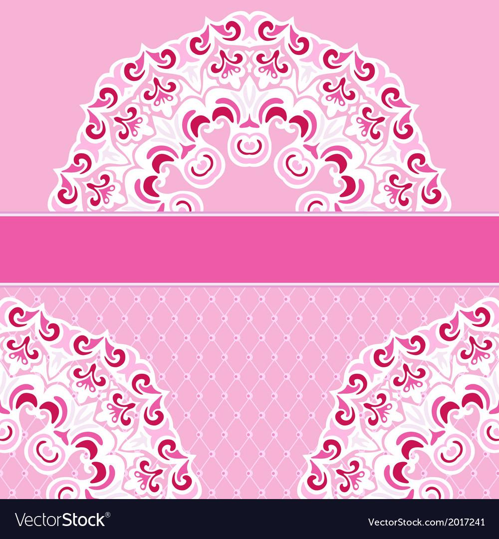 Pink border lace frame background vector image