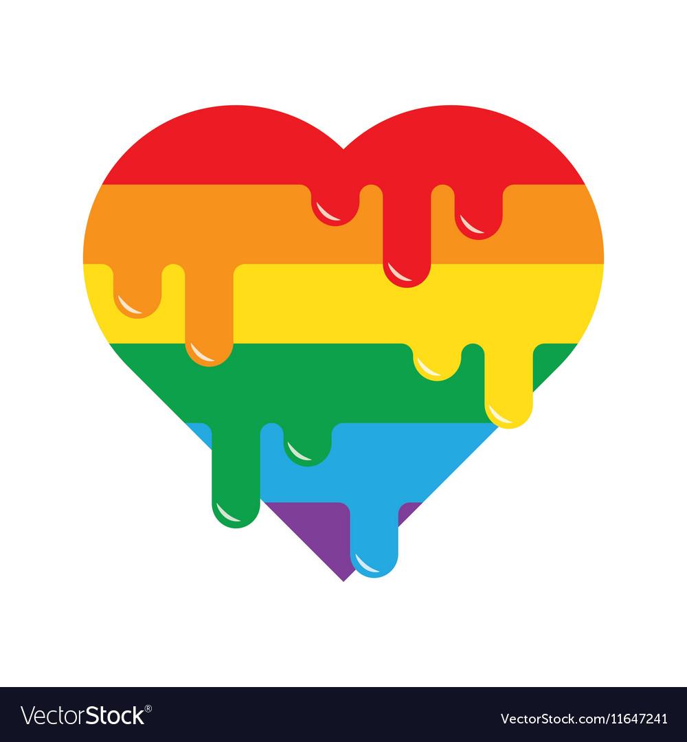 Rainbow flag LGBT symbol on heart