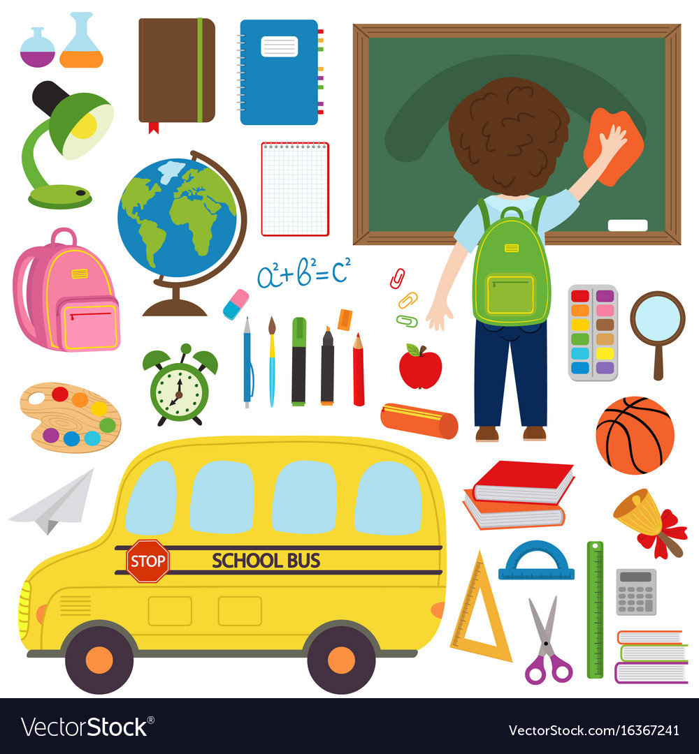 Set of isolated school bus and school supplies