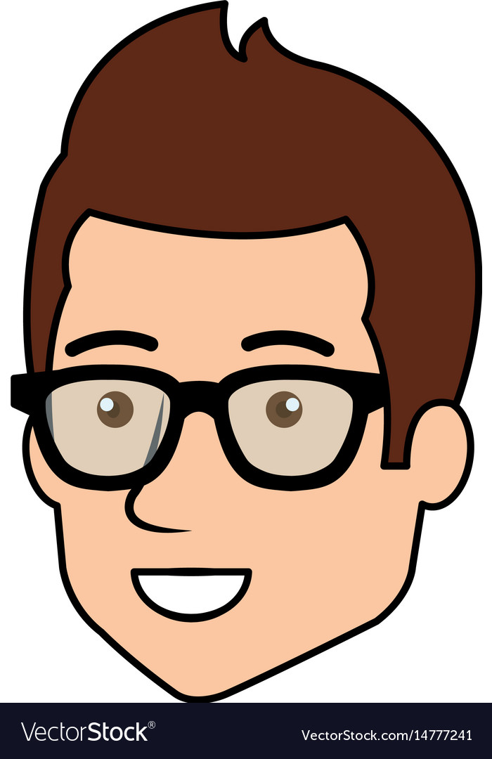 young man head avatar with glasses royalty free vector image
