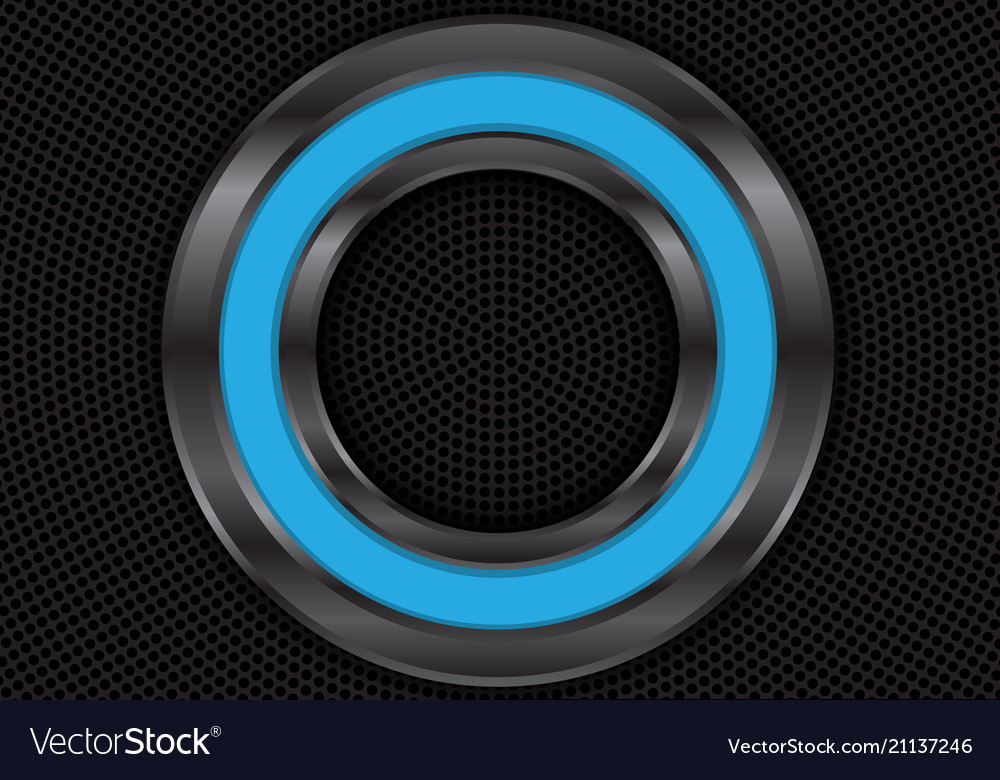 Abstract blue metal circle on black mesh