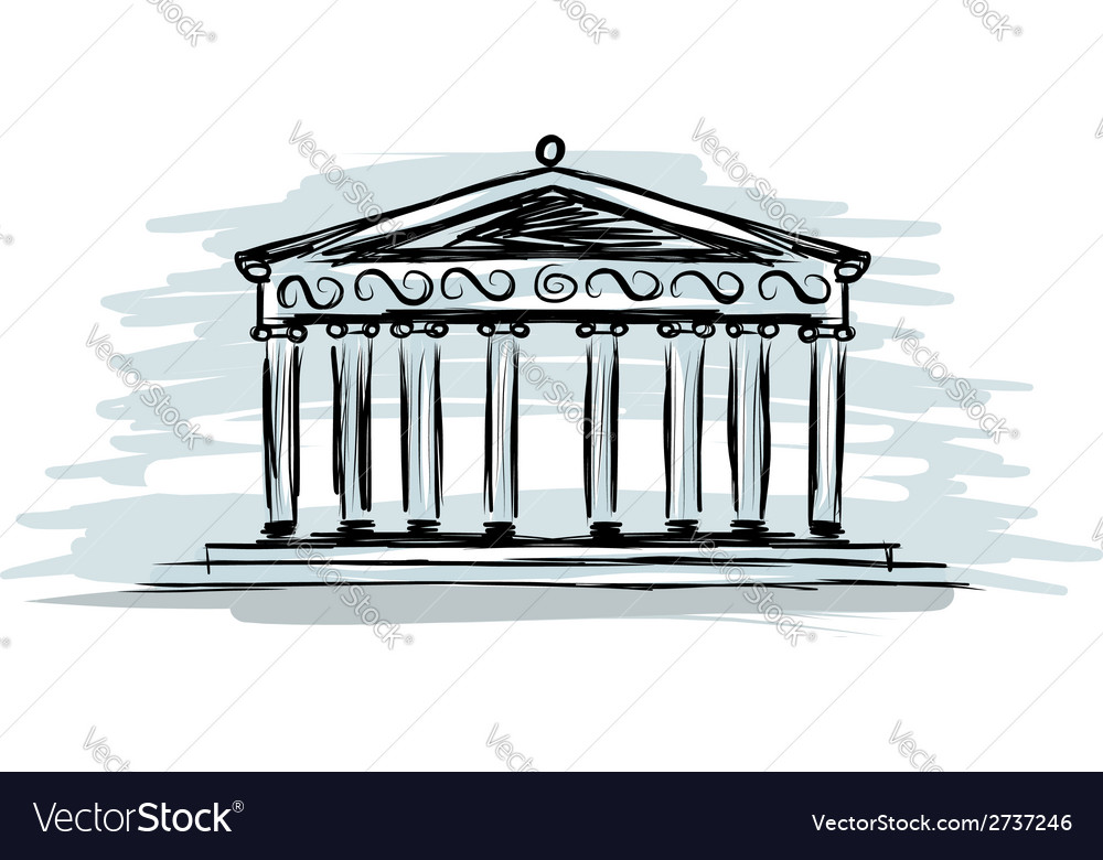 Building with columns sketch for your design