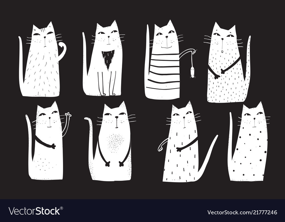 Cats drawing cartoon on black