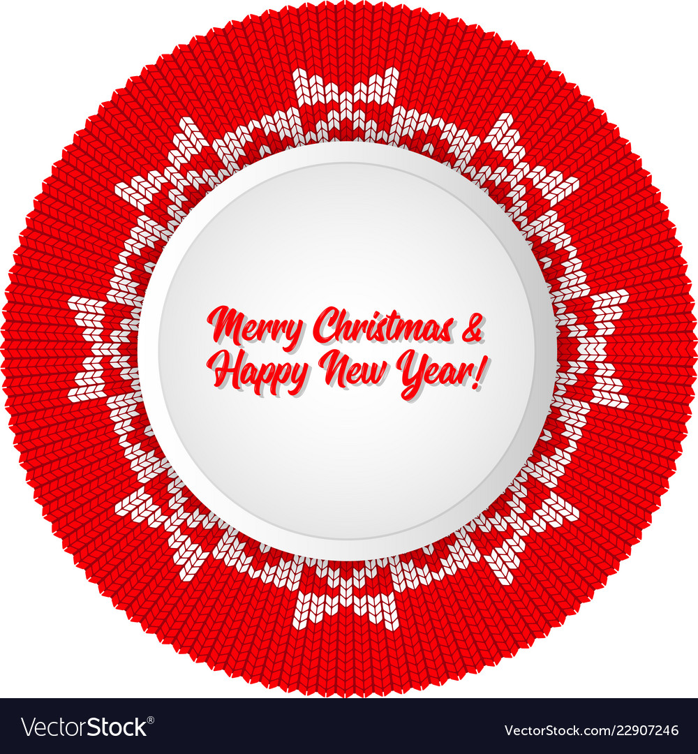 christmas round pattern knit card template for vector image