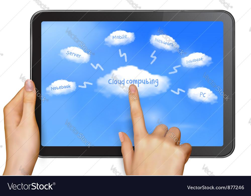 Finger touching cloud