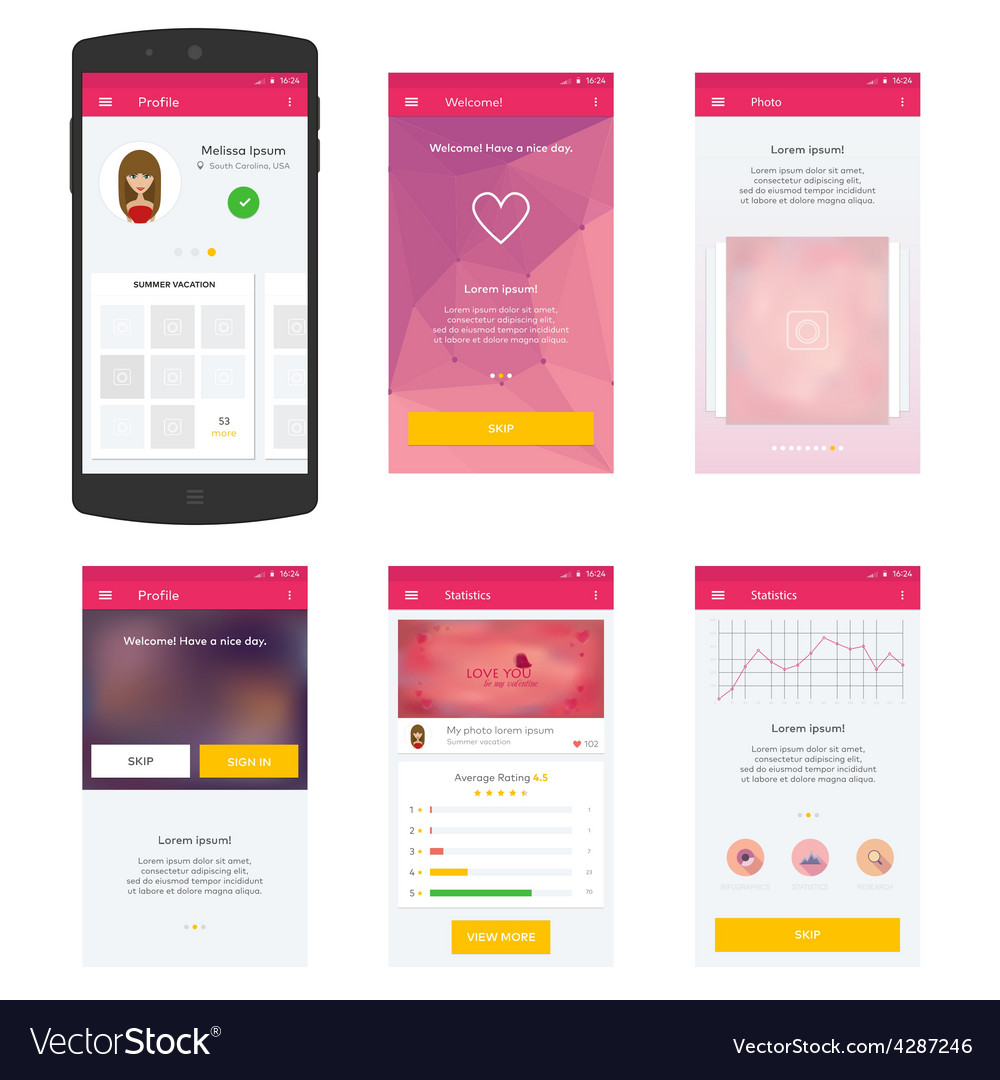 Flat Mobile Web Ui Concept For Mobile Royalty Free Vector