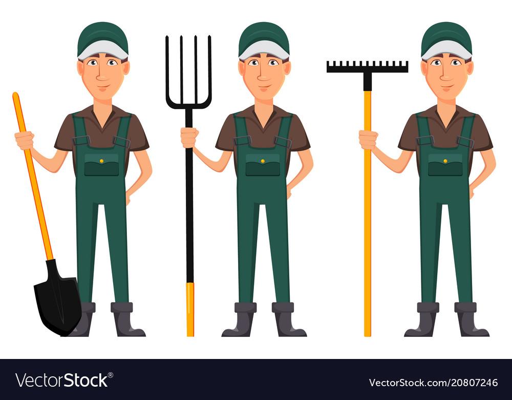 Gardener man cartoon character in uniform