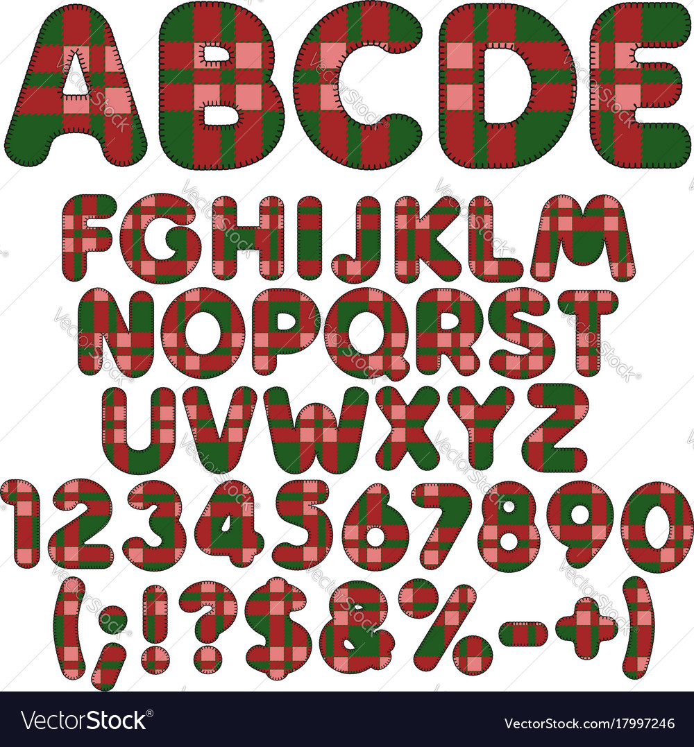 Letters numbers and signs from felt fabric tartan vector image