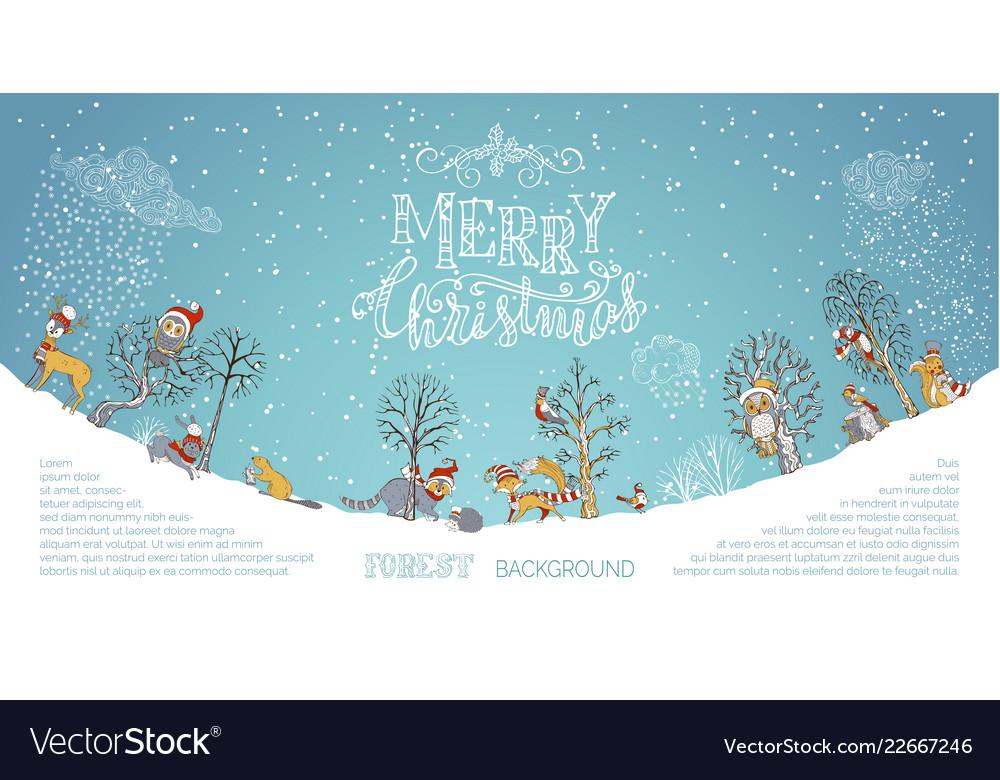 Merry christmas woodland background