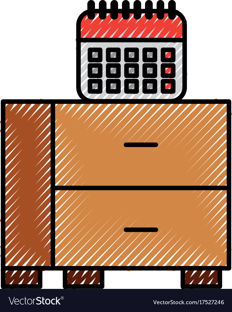 Office table drawers and calendar planner date vector image
