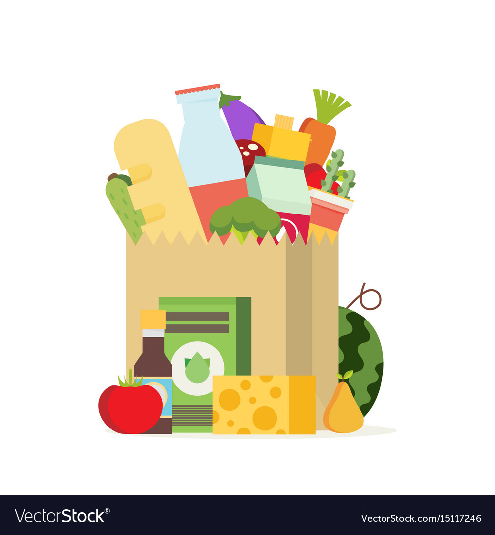 Paper bag package with food and drink products