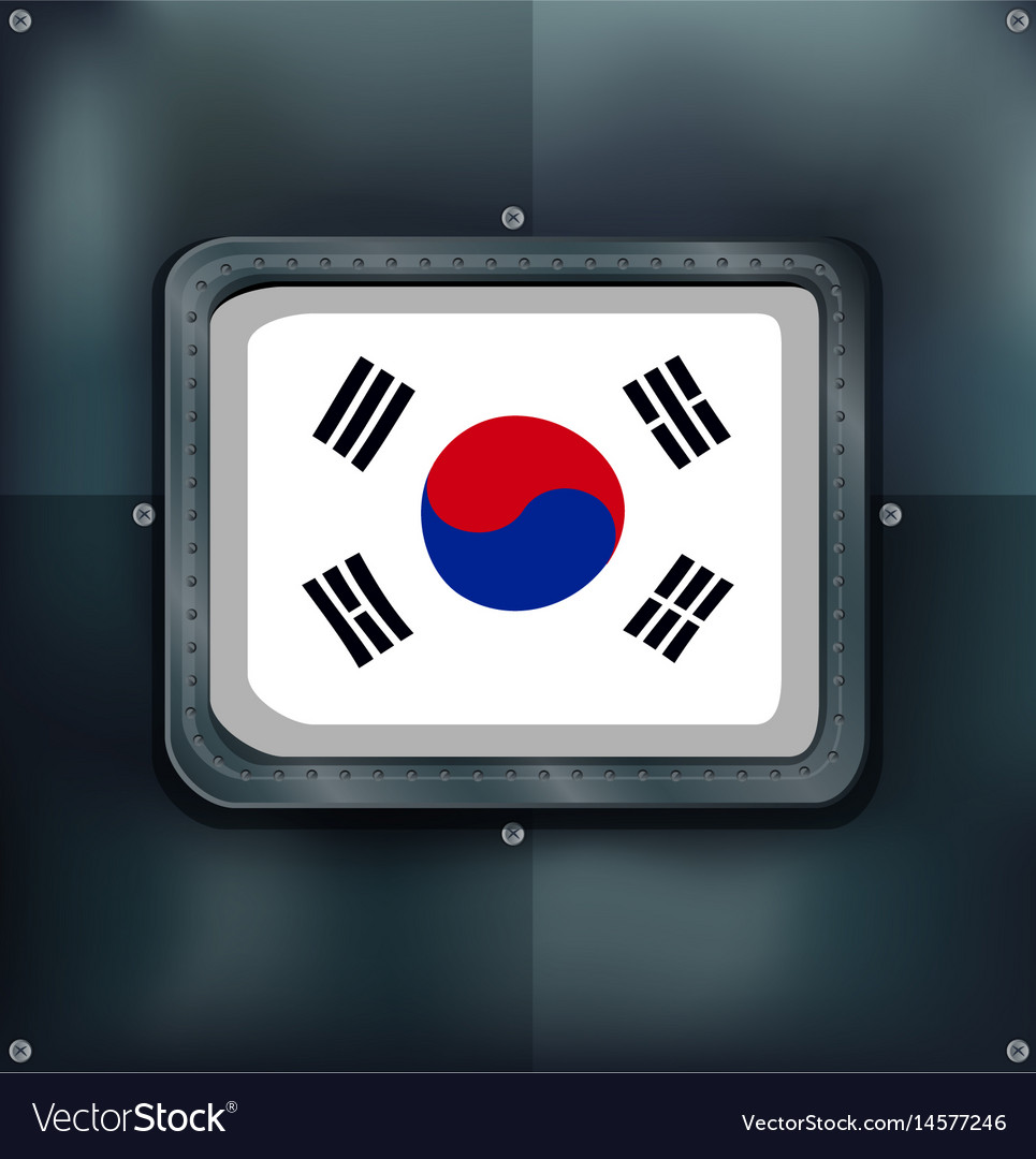 South korea flag on metalic background