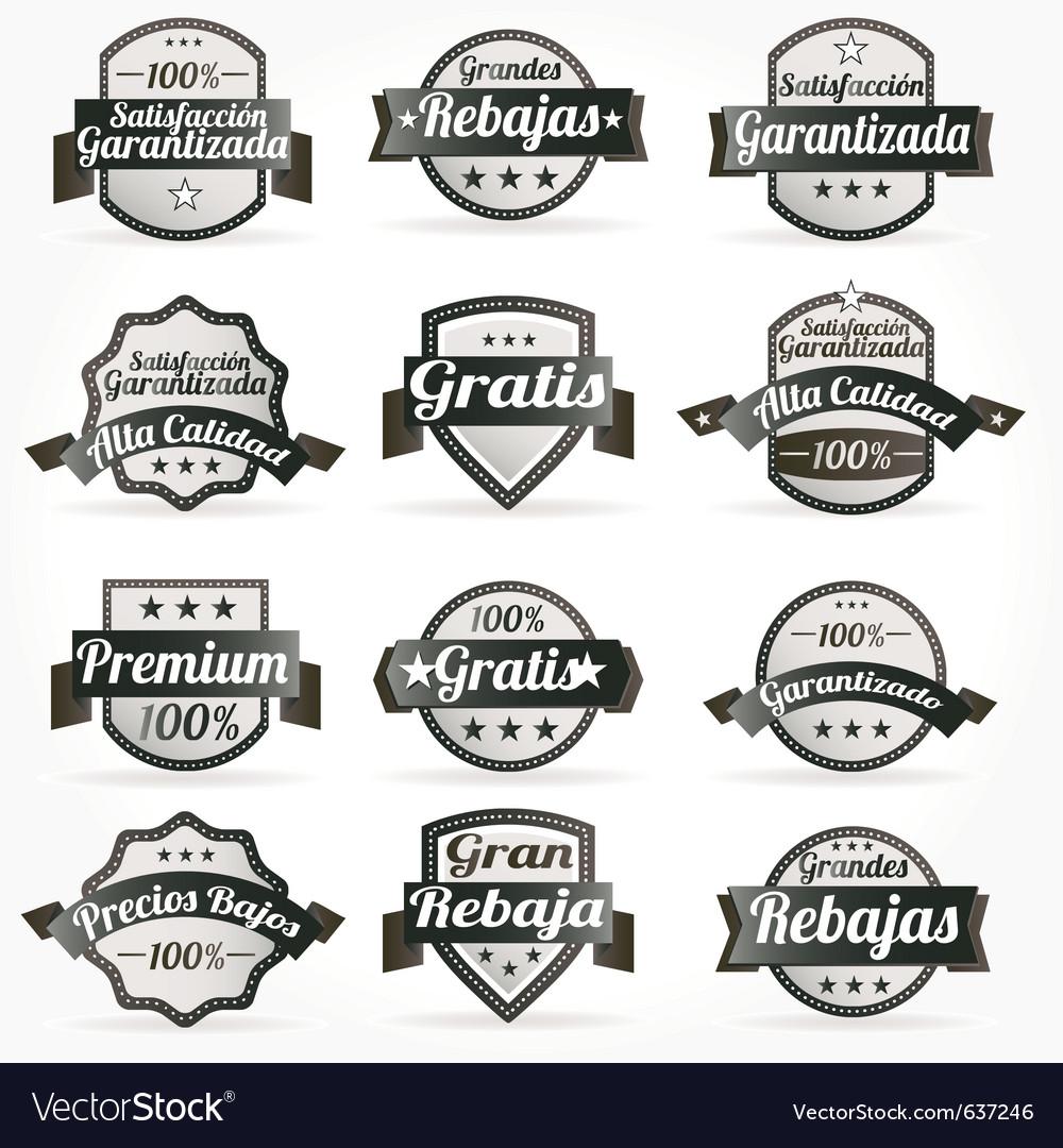 Spanish retro sale labels vector image