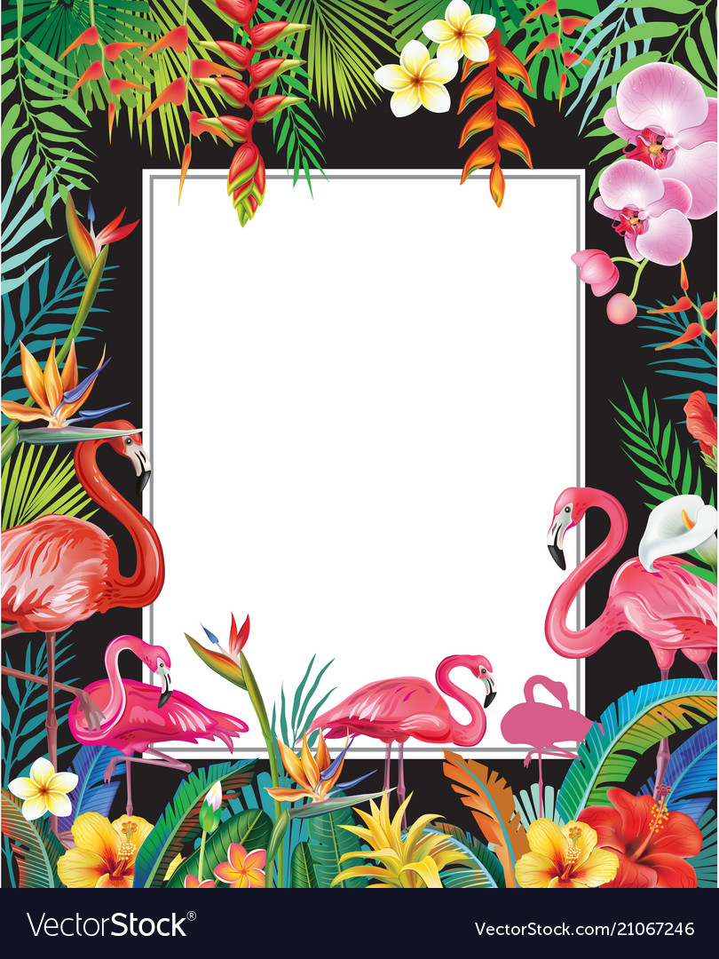 Summer party poster with flamingoes and flowers