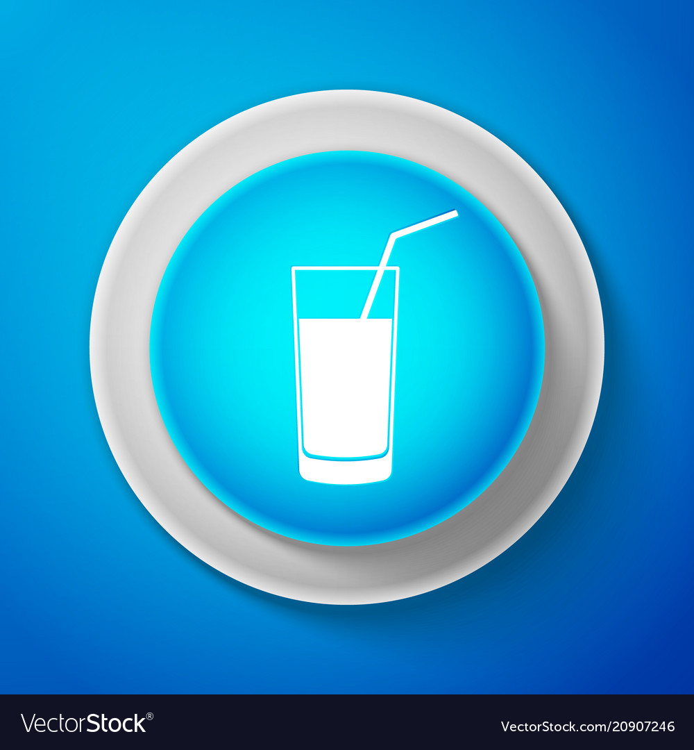 White soft drink icon isolated on blue background