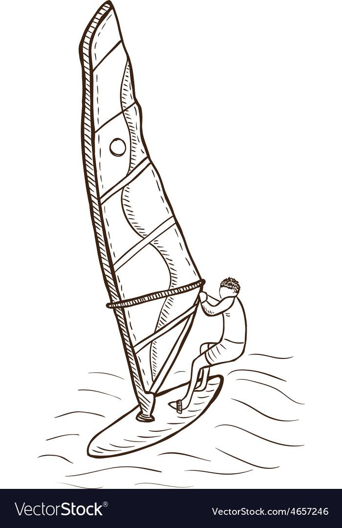 Windsurfer drawing vector image