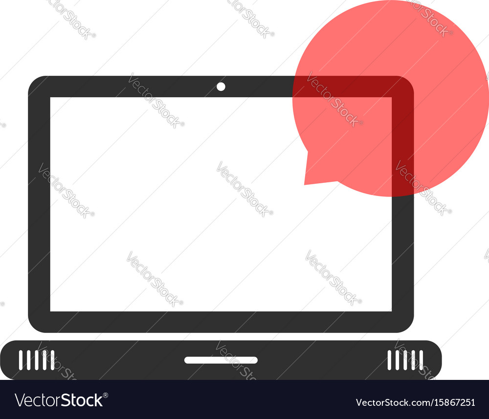 Black laptop with speech bubble