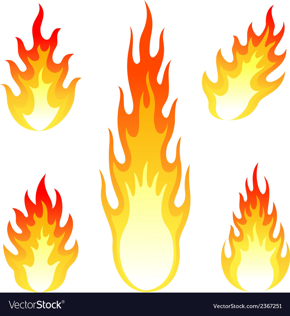 Burning fire and flame set isolated on white