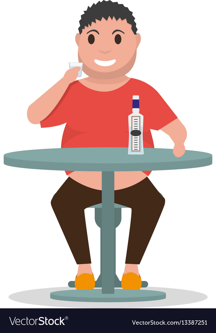 Cartoon man alcoholic drink alcohol table vector image