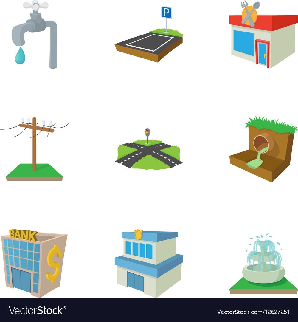 City public buildings icons set cartoon style