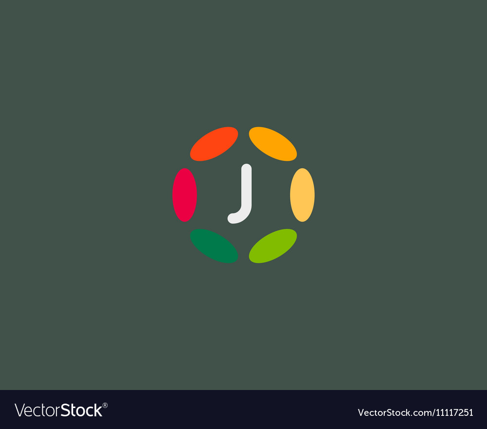 Color letter J logo icon design Hub frame vector image