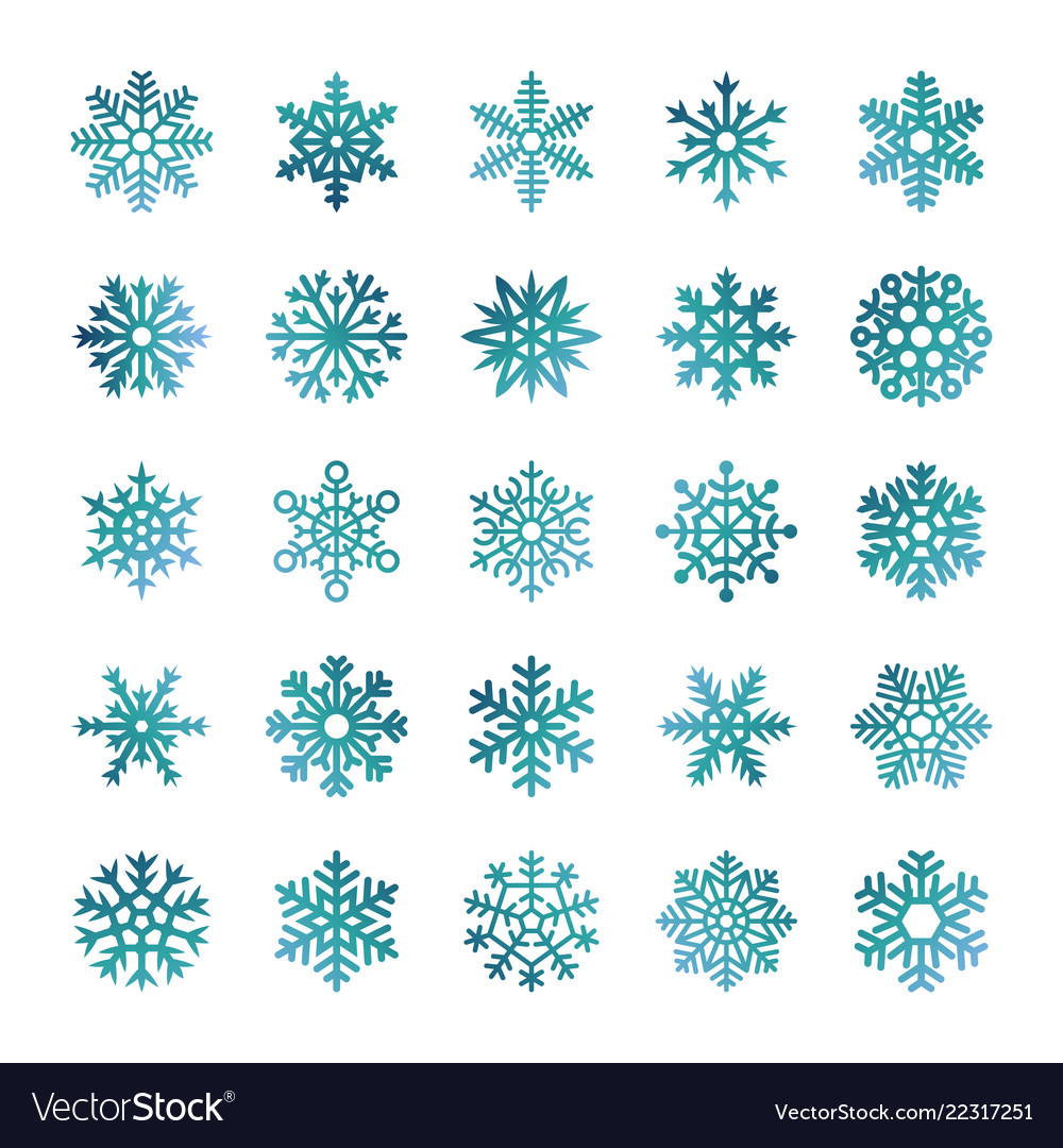 Colorful snowflakes isolated on white