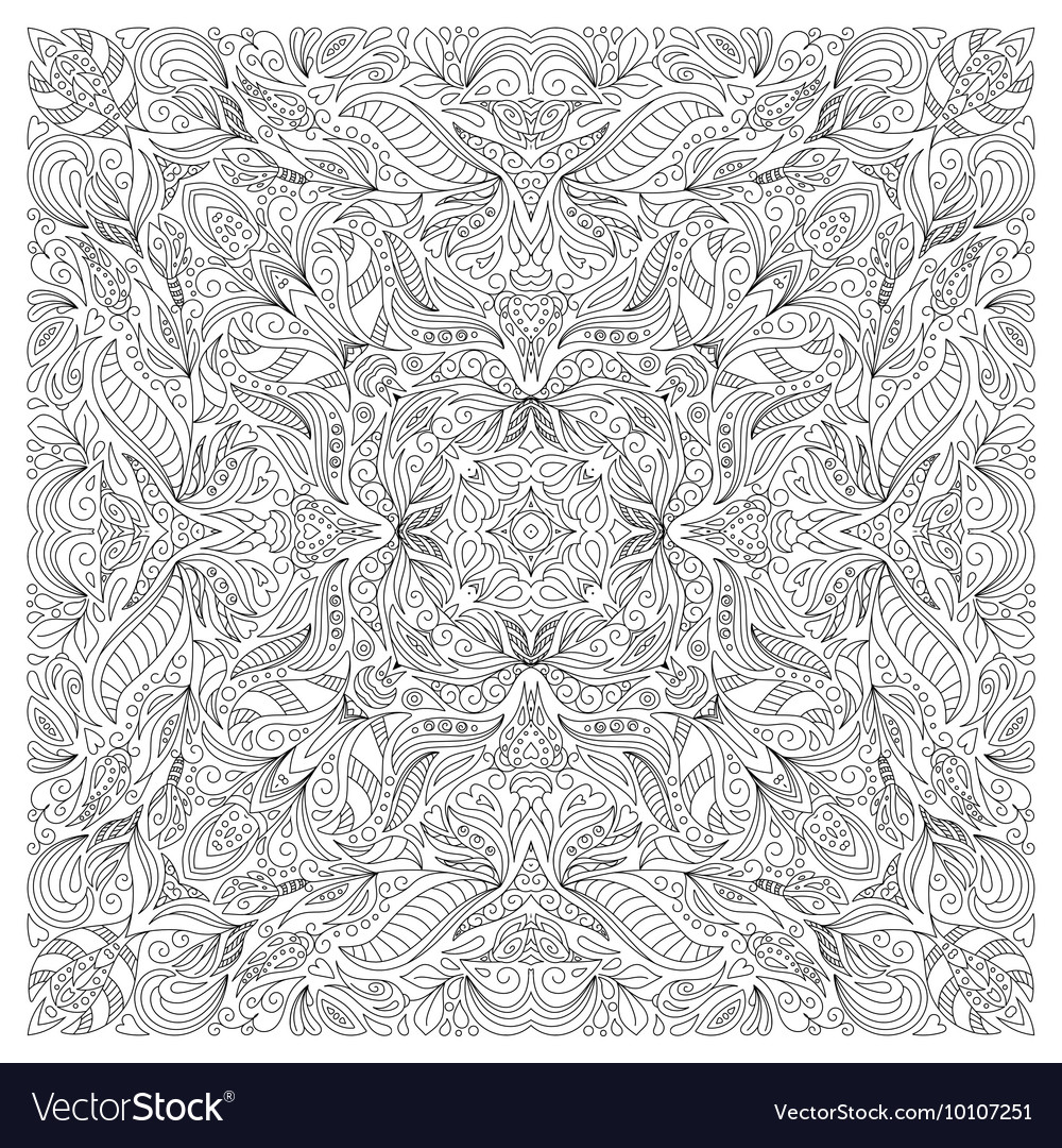 Coloring book page for adult square form