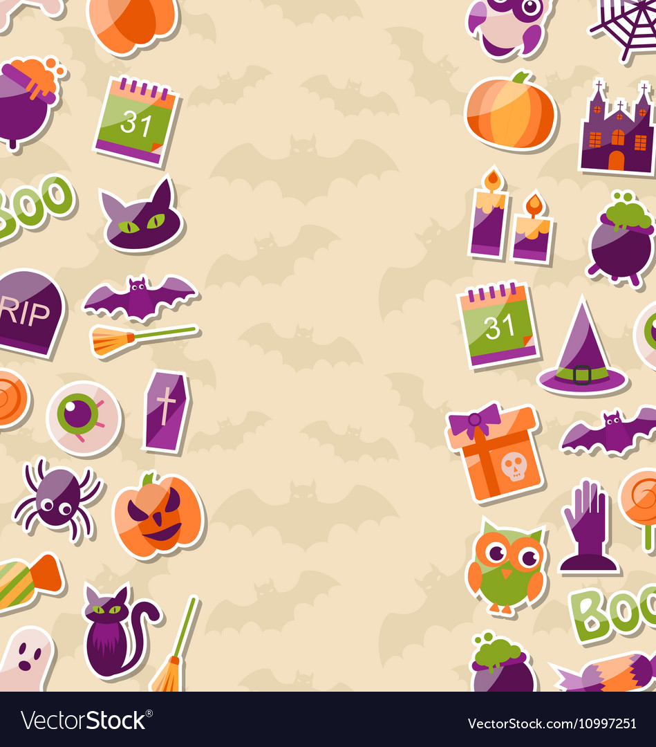 Cute Background for Halloween Party with Colorful