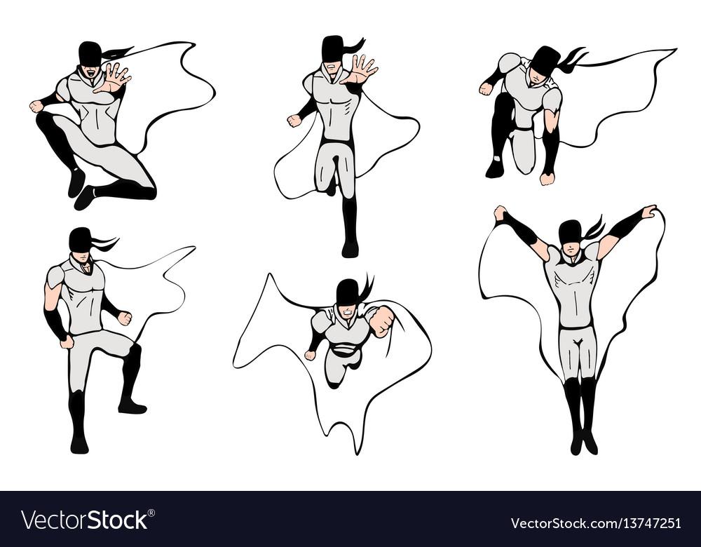 Hand drawn superhero models in various poses