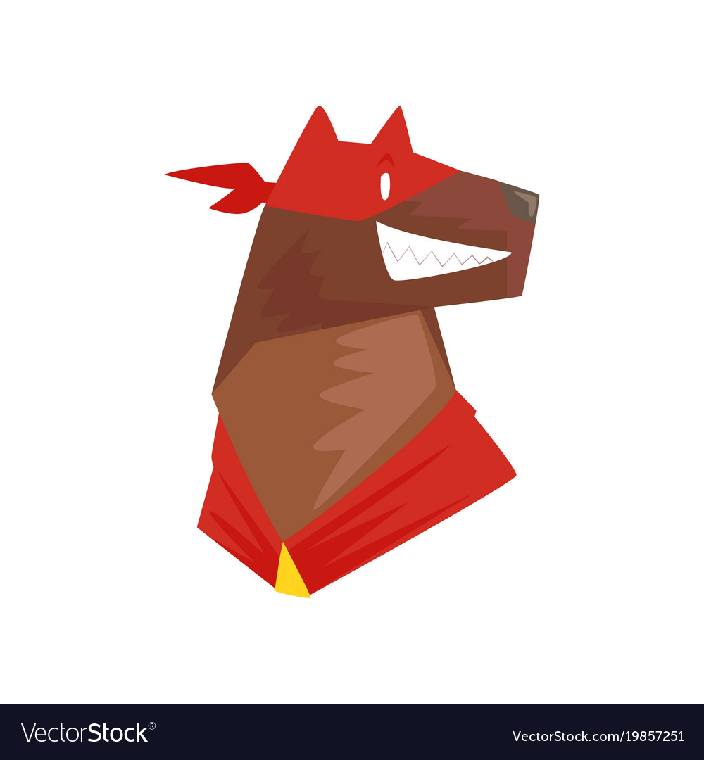 Head of superhero dog character in red mask