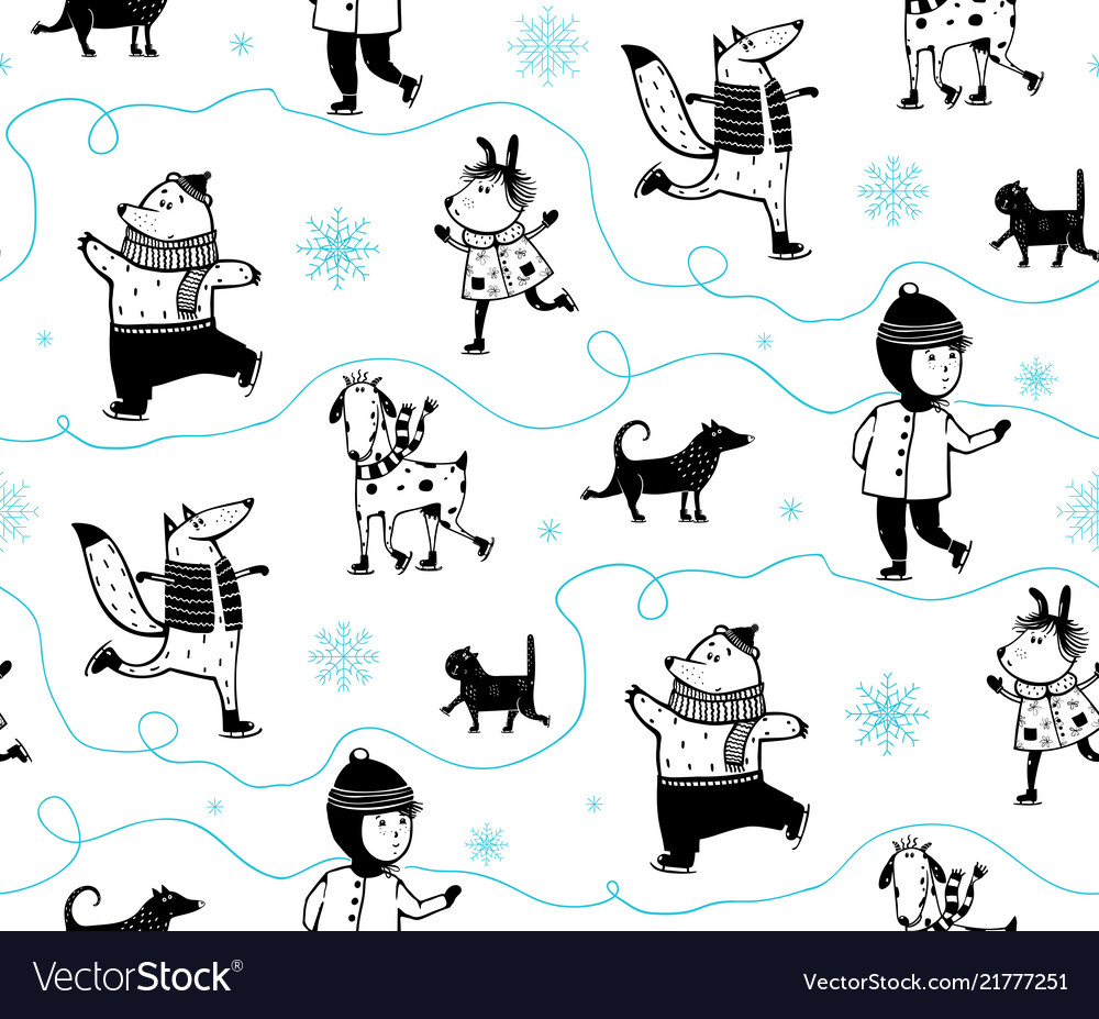 37f876f04ab Holiday winter skiing animals pattern Royalty Free Vector