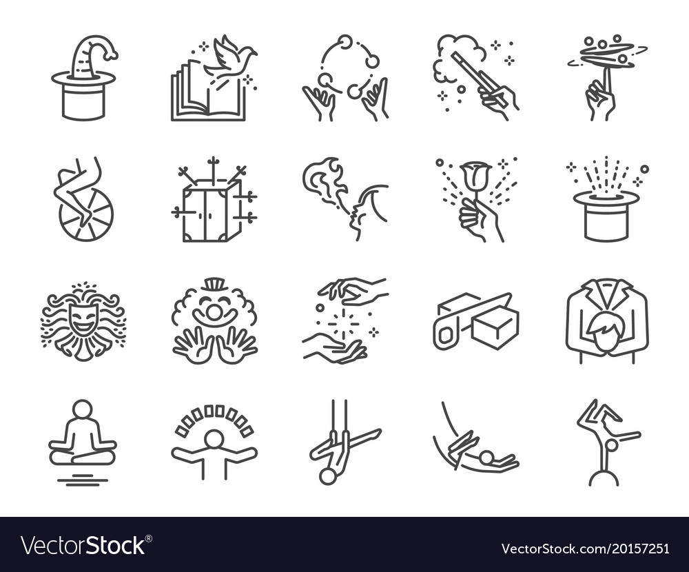 Magic show line icon set