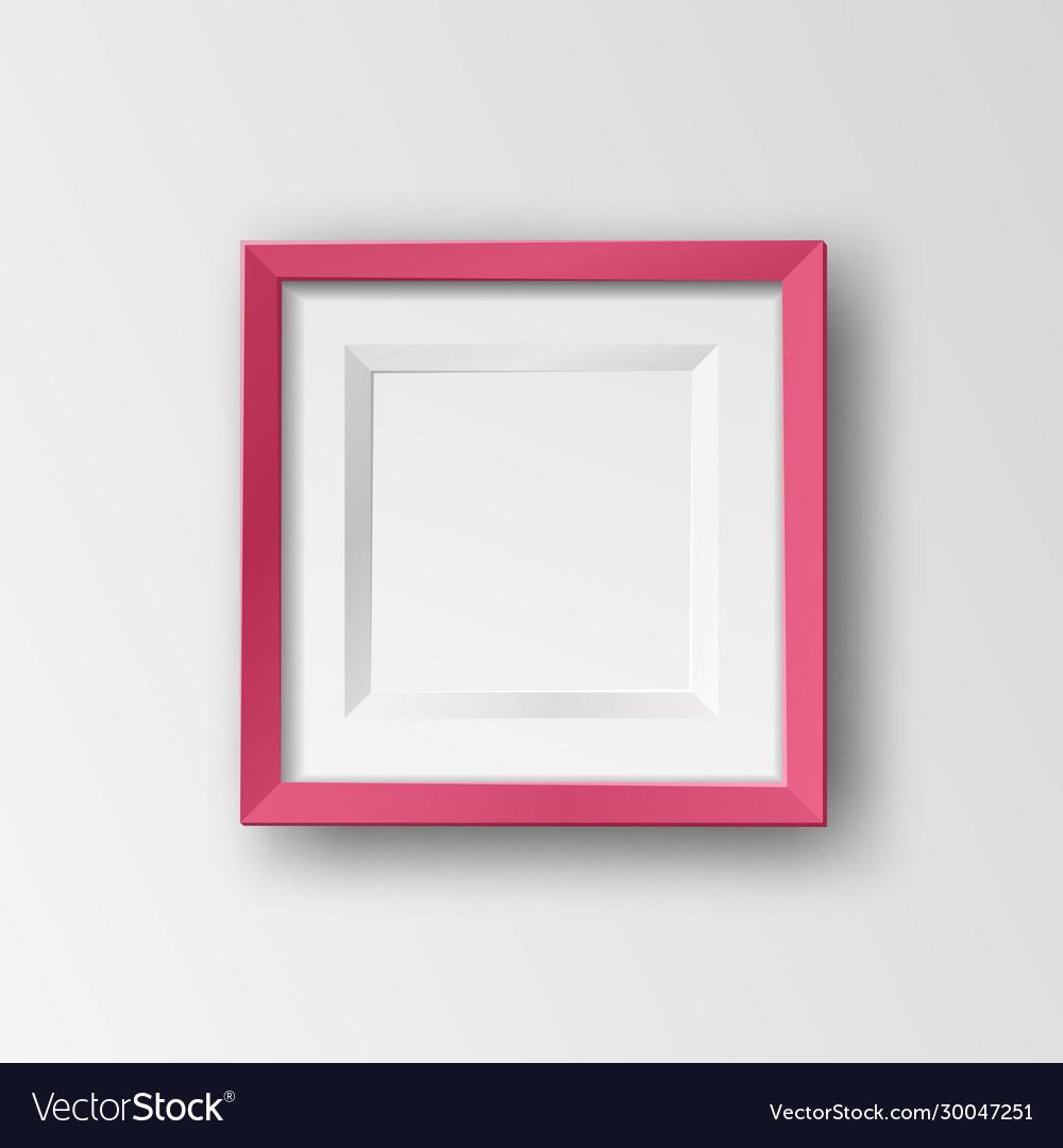 Realistic square empty picture frame mockup
