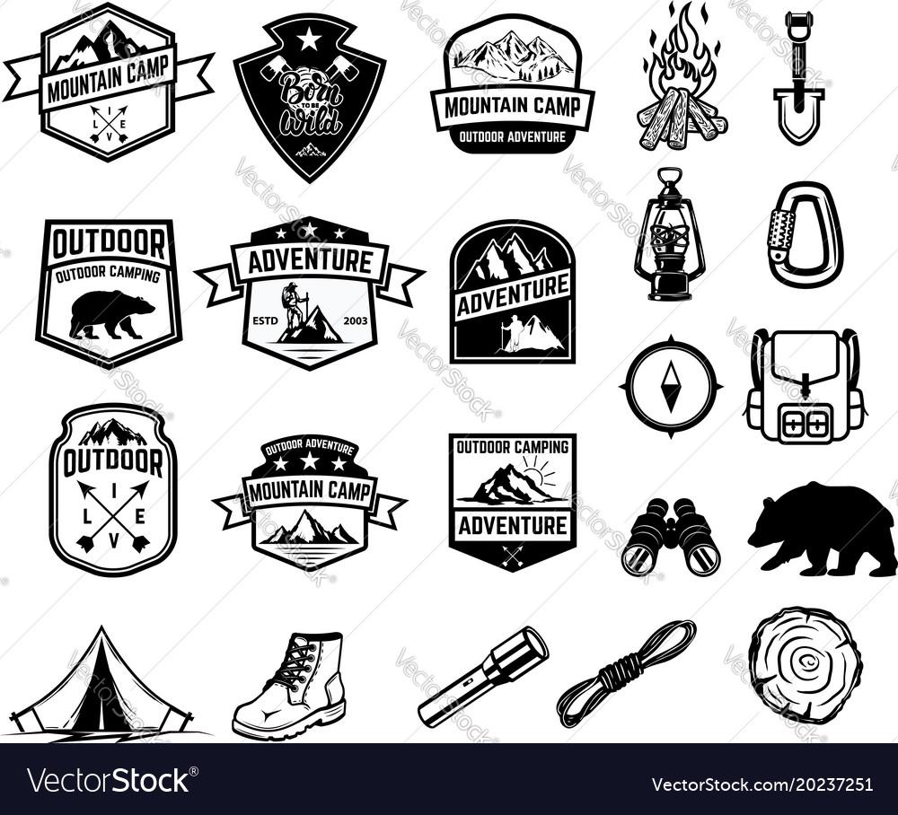 Set camping hiking tourism emblems design