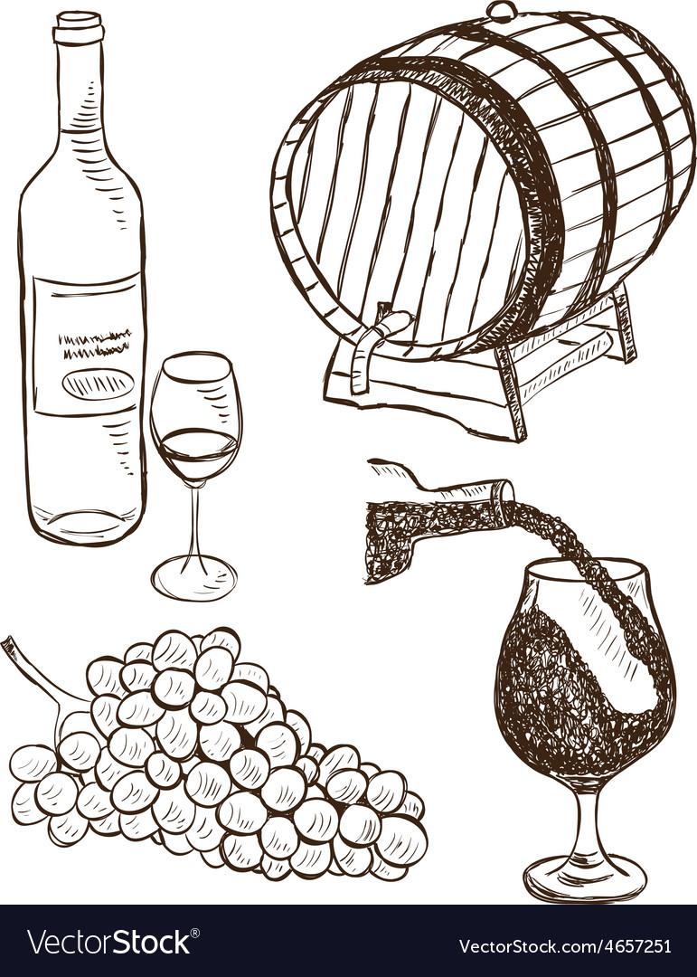 Set of wine doodles