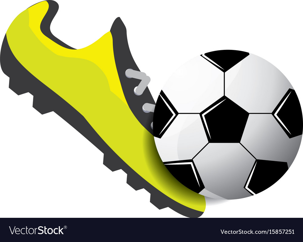 Soccer shoes witn ball Royalty Free