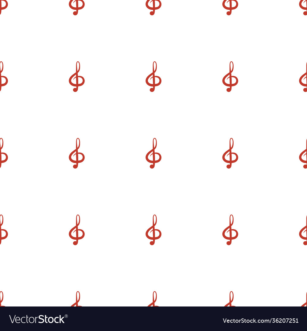Treble clef icon pattern seamless white background