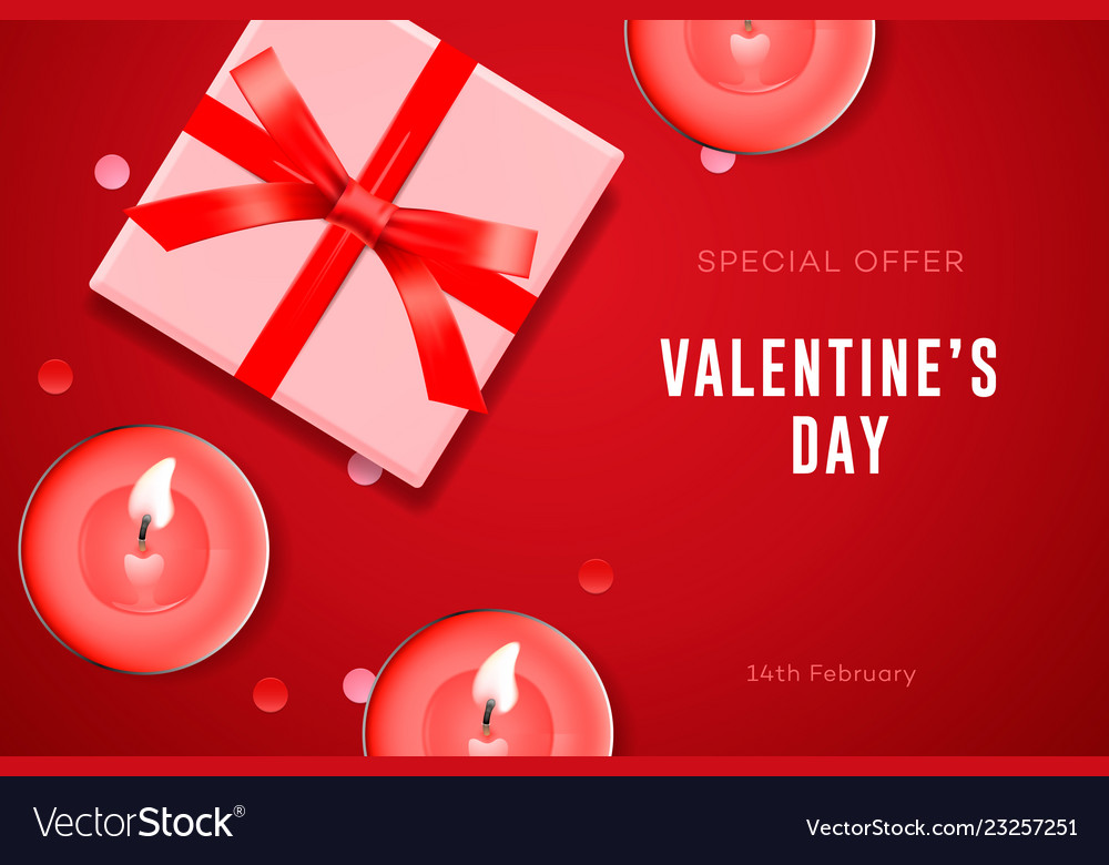 aba198fca731 Valentines day special offer poster with gift box Vector Image