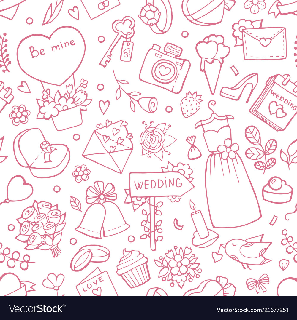 Wedding seamless pattern background with