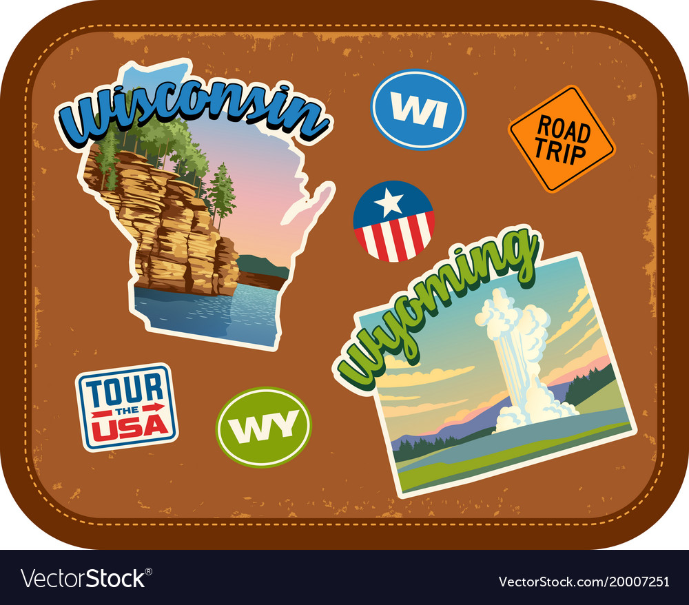 Wisconsin wyoming travel stickers vector image