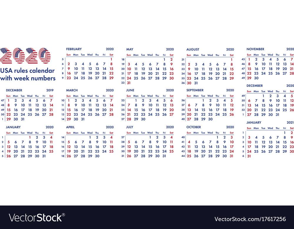 American Calendar 2020 2020 american calendar weeks Royalty Free Vector Image