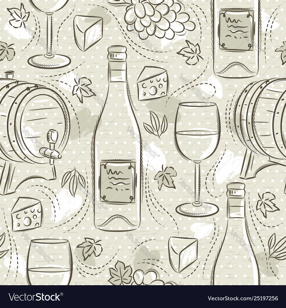 Beige seamless patterns with white wine set cask