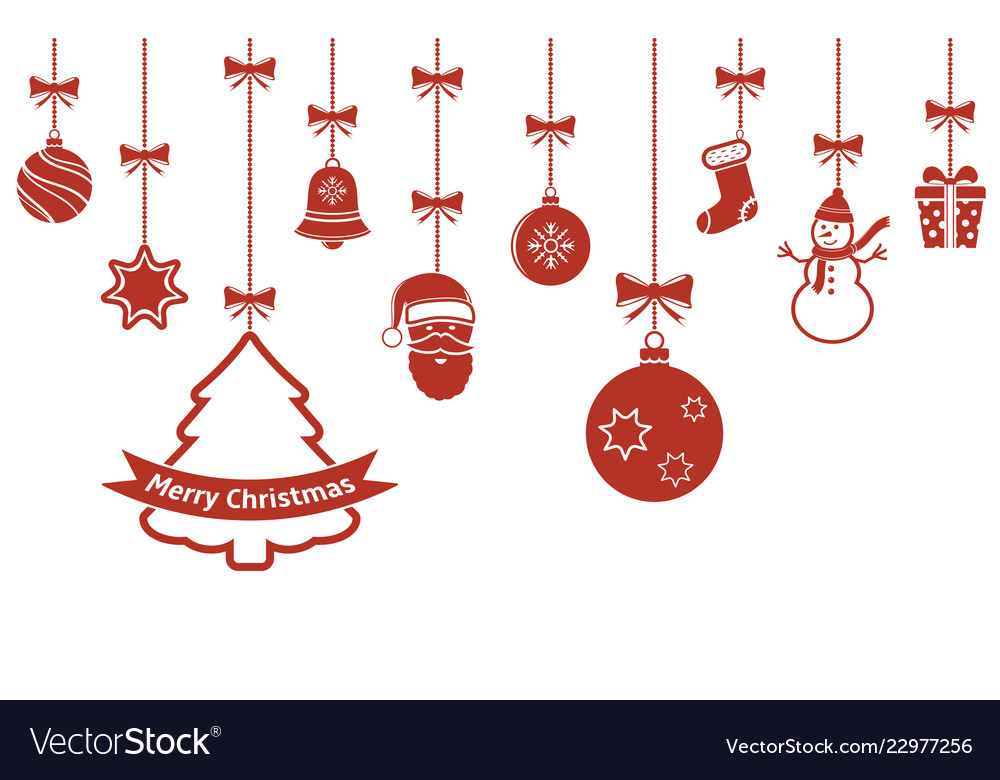 Christmas hanging red ornaments isolated