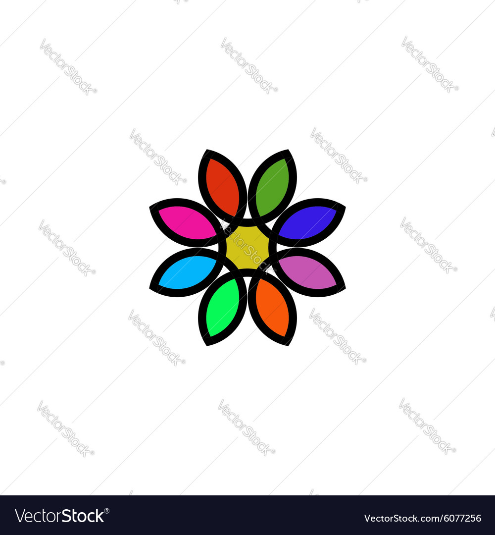 Colorful floral logo design flower painted in