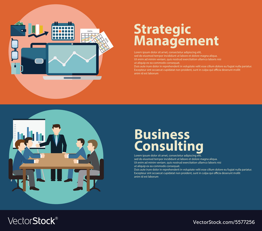 Flat style business success strategy management