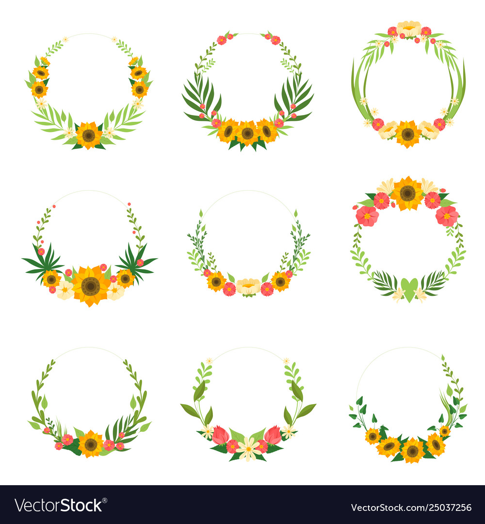 Floral wreath with sunflowers and leaves set