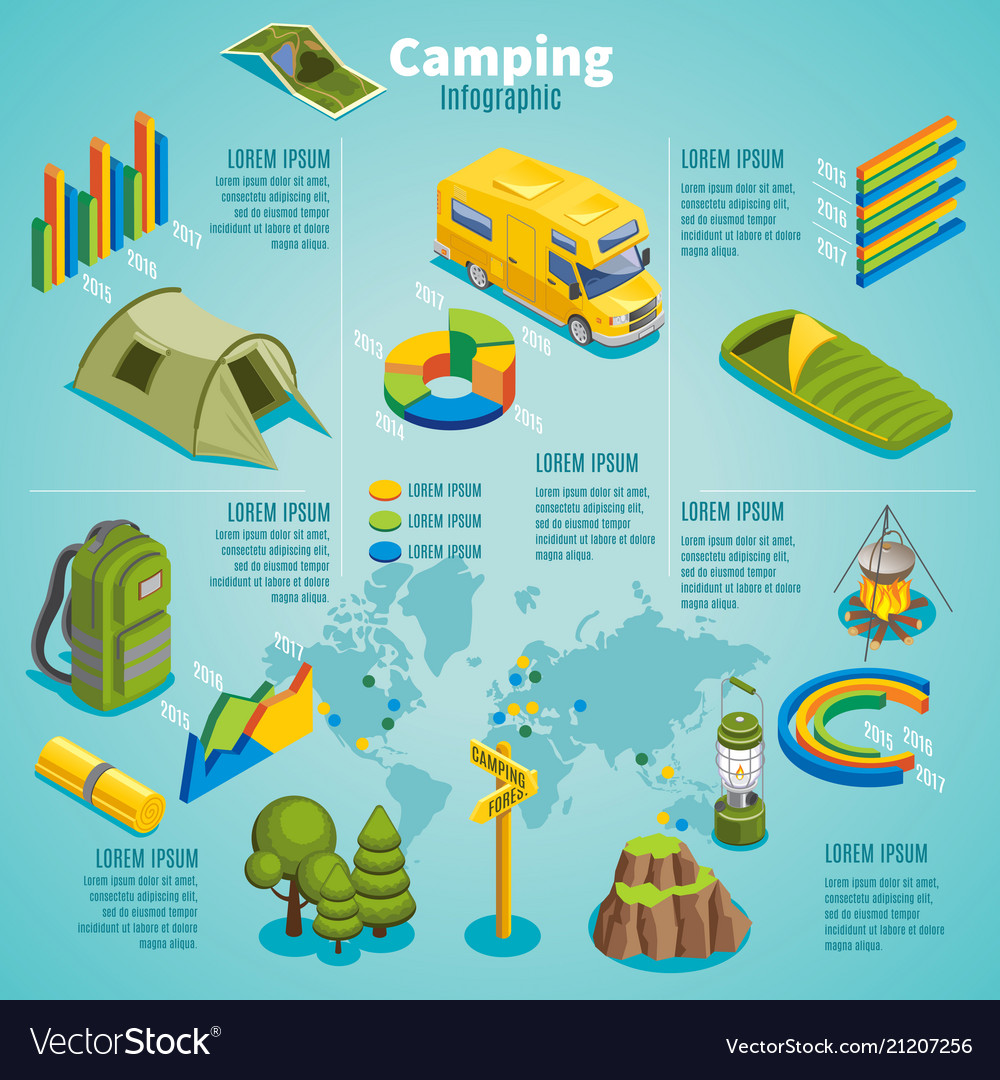 Isometric summer camping infographic template