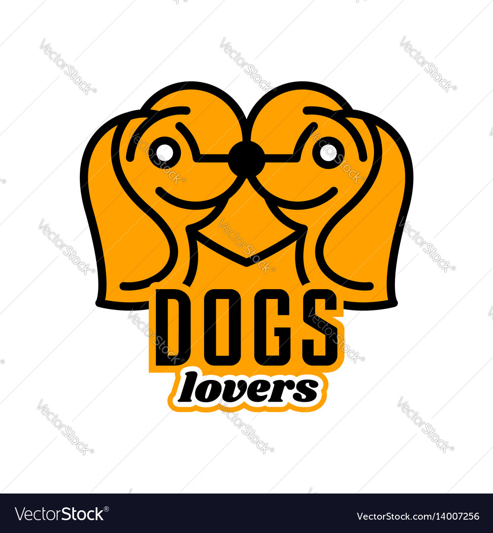 Logo on pets heart dogs head in profile