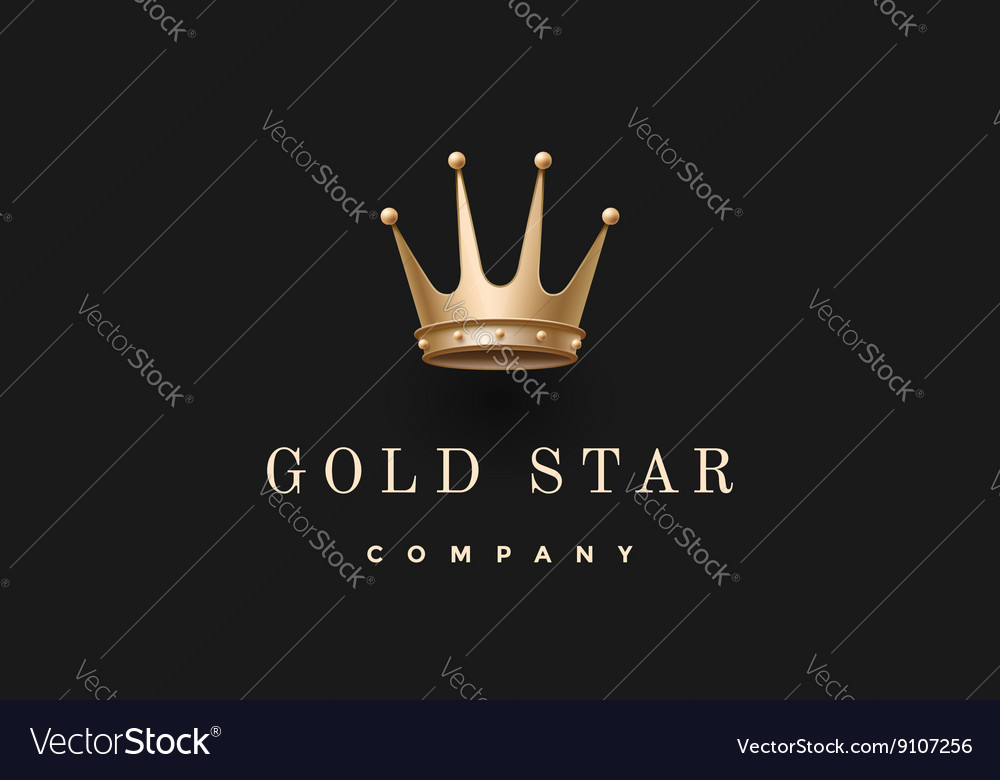Logo with gold king crown and inscription Gold vector image
