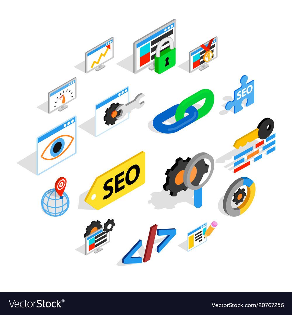 Seo icons set isometric 3d style